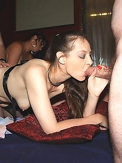 Mature and younger gangbanged at sex club