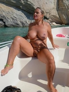 During my naturist holidays in Zakynthos I spent a day on a boat to explore the island . I have put my Bikini into the b
