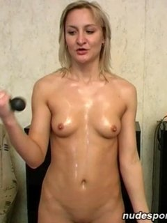 Sweating nude home sports