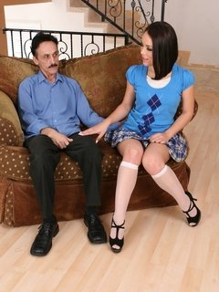 Kristina Rose has an old geeze for her stepdad that she enjoys fucking when moms not around
